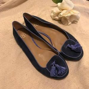 Ann Taylor two toned blue suede loafers